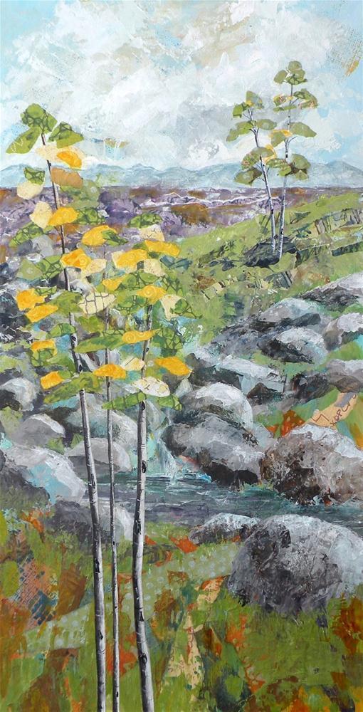 """PEACEFUL SUMMER ORIGINAL MIXED MEDIA ON CRADLED PANEL © SAUNDRA LANE GALLOWAY"" original fine art by Saundra Lane Galloway"