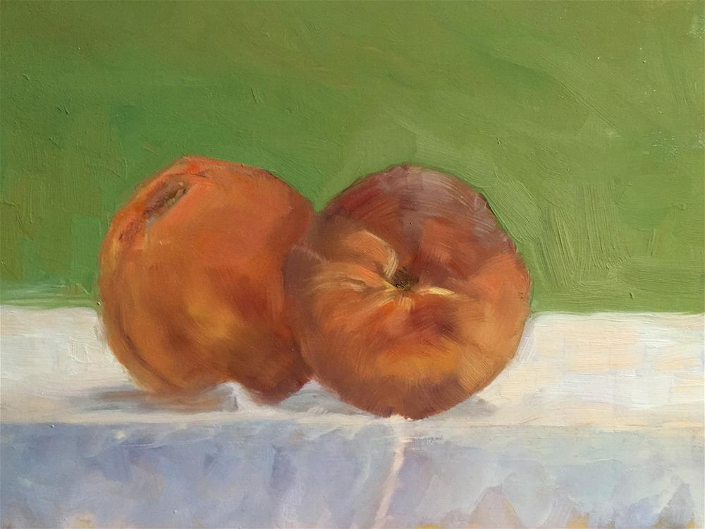 """Two Peaches"" original fine art by Judith Anderson"