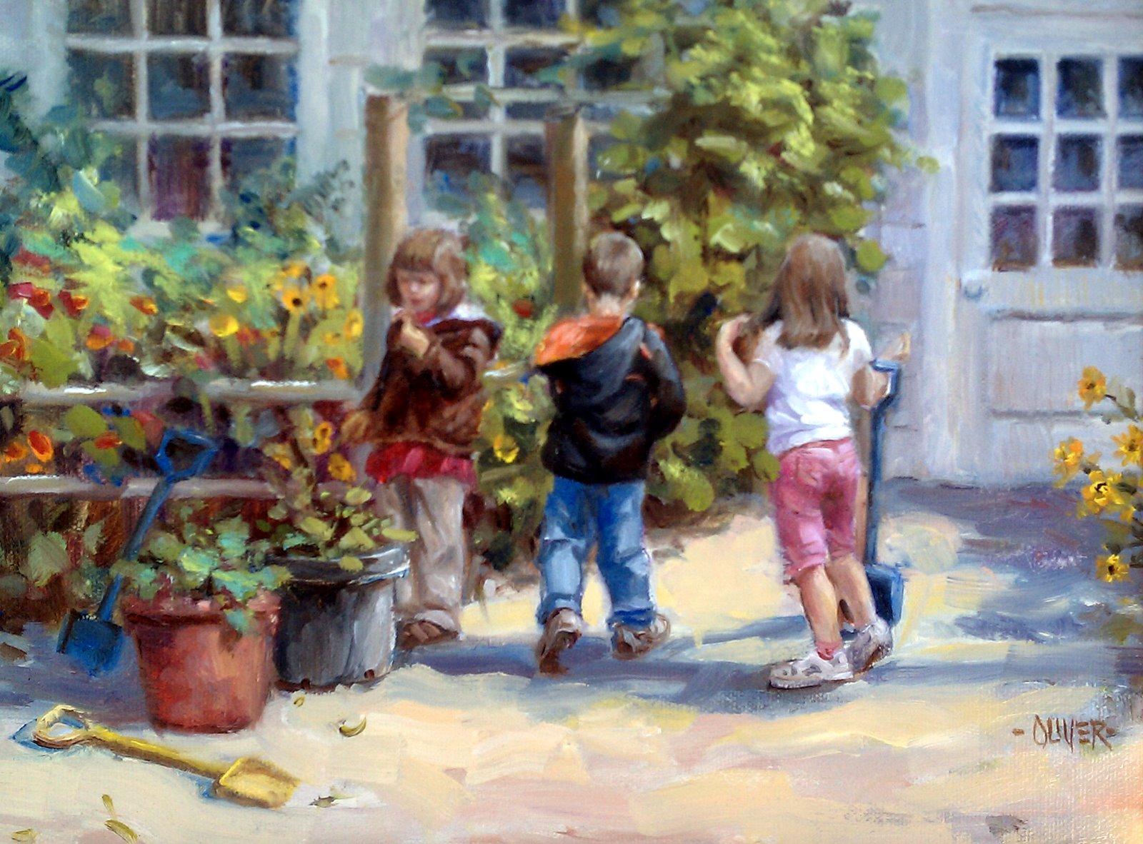 """""""Grandson and Friends"""" original fine art by Julie Ford Oliver"""