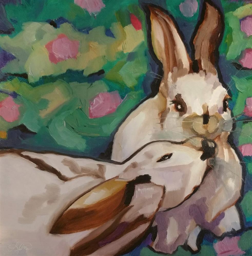 """Bunny Kisses"" original fine art by Leni Tarleton"