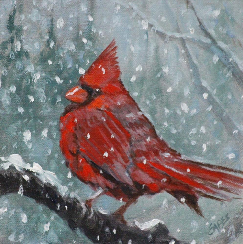 """Winter Cardinal"" original fine art by Linda Eades Blackburn"