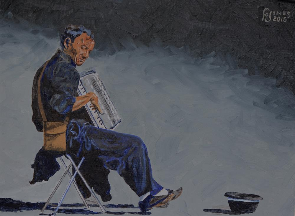 """""""Busker"""" original fine art by Fred Jones"""