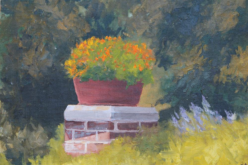 """Monet's Garden Gate"" original fine art by Maria Reed"