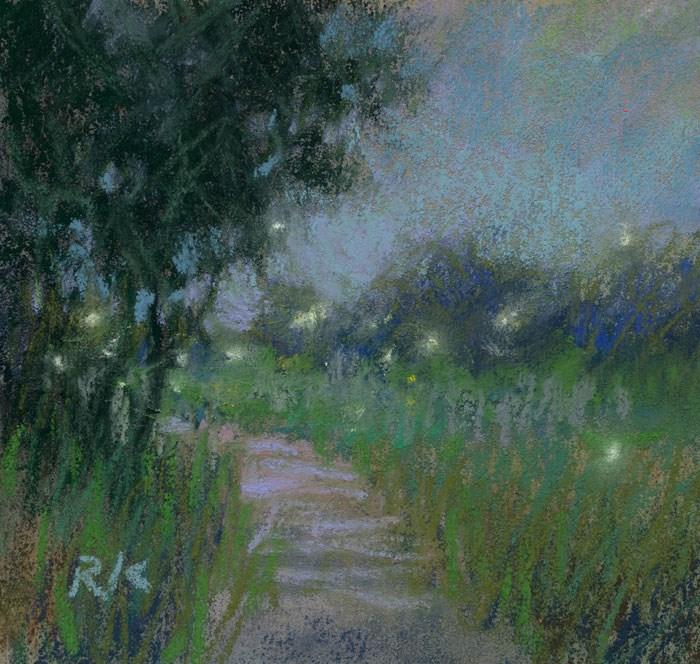 """""""Land Study 3 (with fireflies)"""" original fine art by Rita Kirkman"""