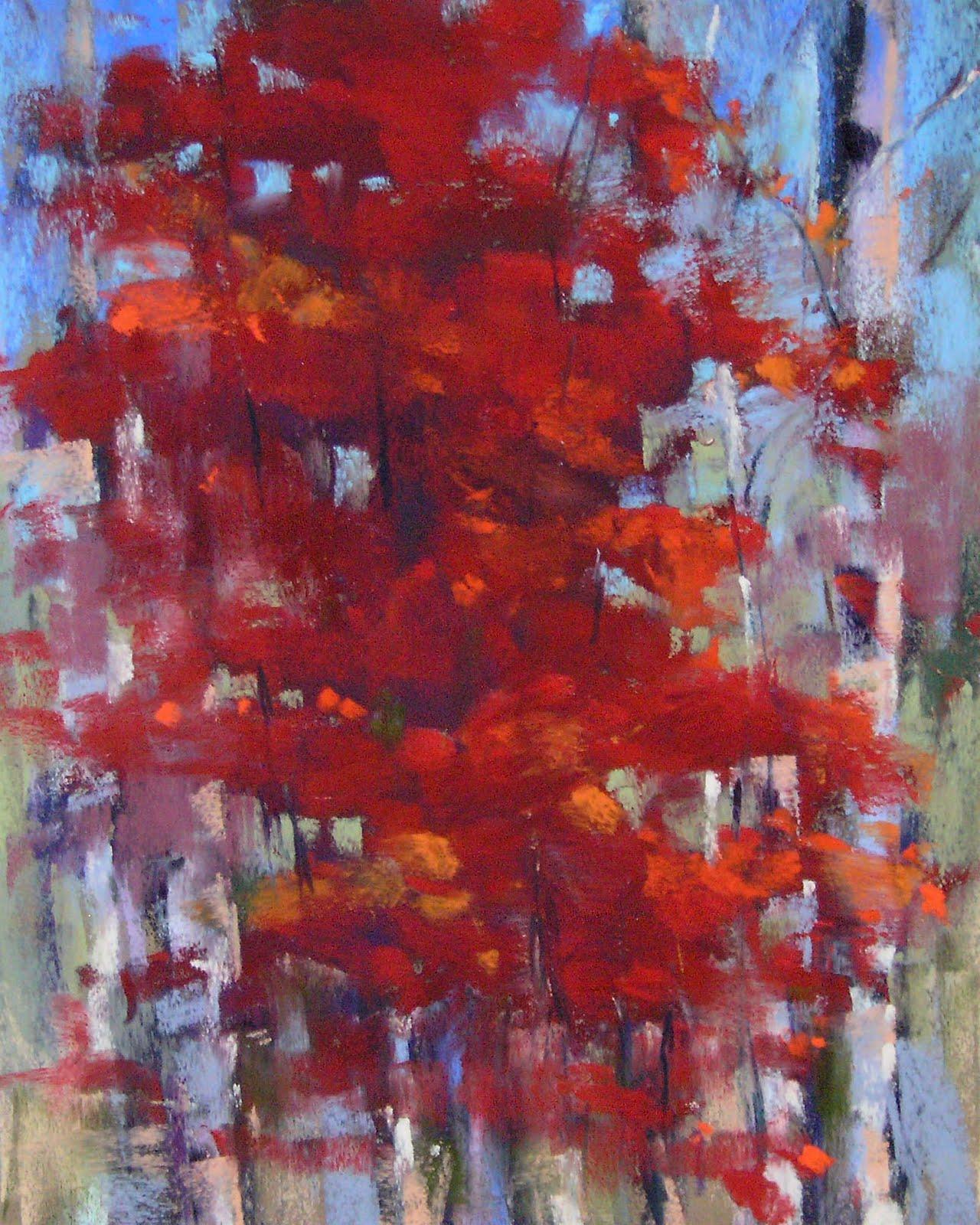 """A Splash of Red....Autumn Tree Pastel"" original fine art by Karen Margulis"