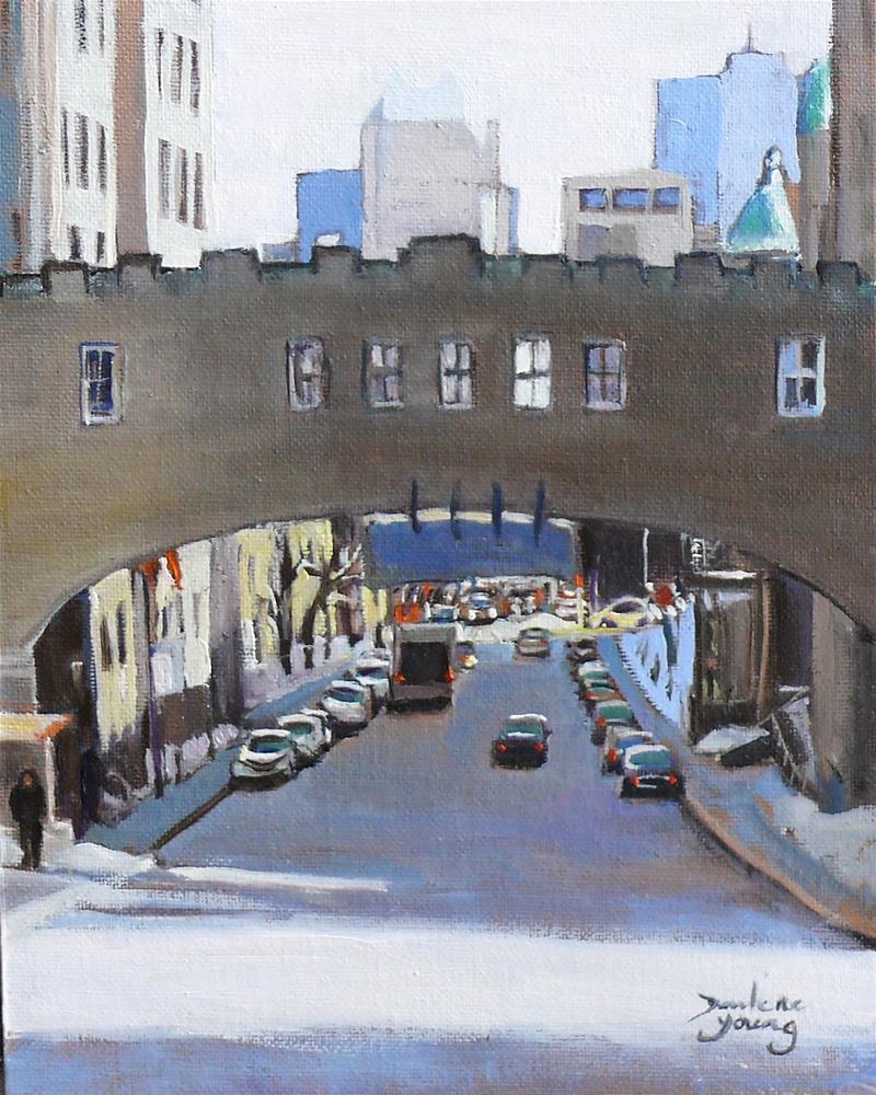 """""""974 Montreal Street Scene, University, 8x10, oil on board"""" original fine art by Darlene Young"""