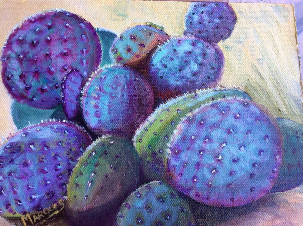 """""""Purple cactus"""" original fine art by Kathy Marques"""