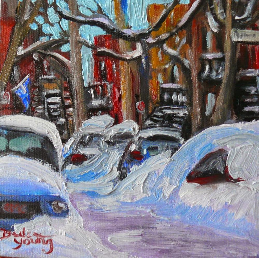 """815 Montreal Winter Rue Bousquet, 8x10, oil"" original fine art by Darlene Young"