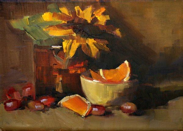"""sunflower in amber"" original fine art by Carol Carmichael"