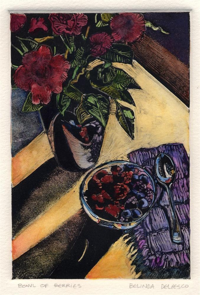 """""""Monotype & Watercolor: Bowl of Berries"""" original fine art by Belinda Del Pesco"""