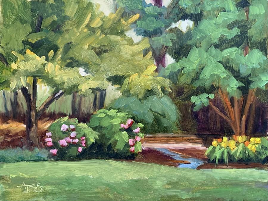 """Shades of Green—Campus Gardens"" original fine art by Andrea Jeris"