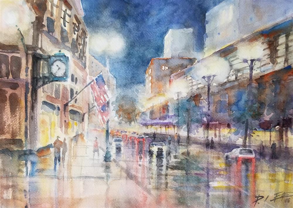 """Chicago Night"" original fine art by Peter Lee"