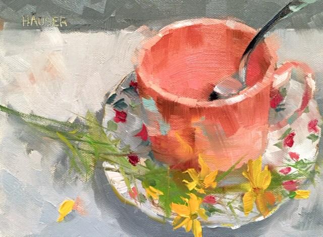 """""""Garden Tea"""" original fine art by Alice Hauser"""