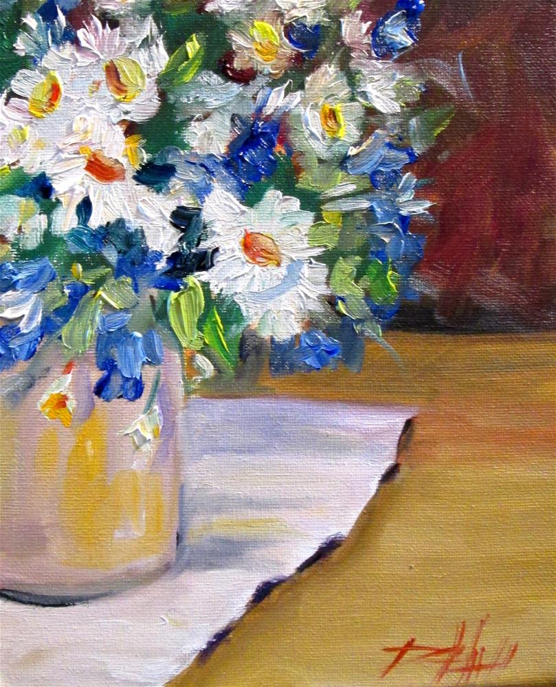 """Blue and White Flowers"" original fine art by Delilah Smith"