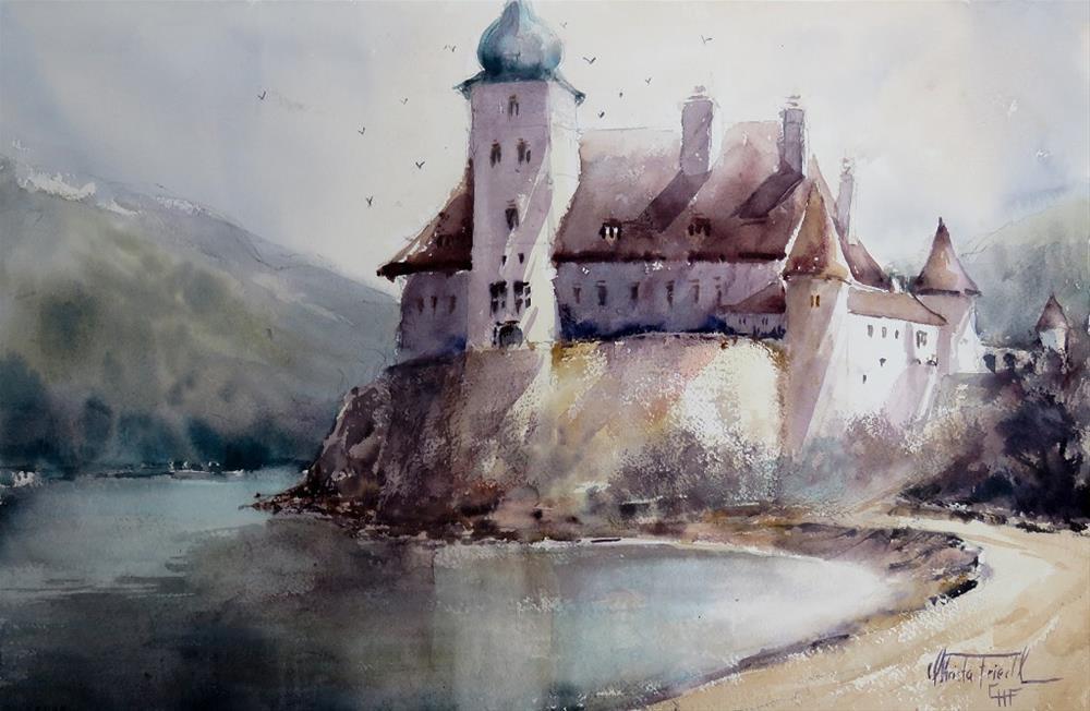 """Castle Schönbühel, Austria"" original fine art by Christa Friedl"