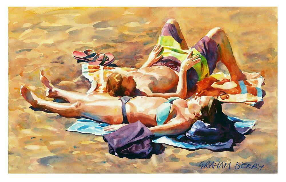 """Sunbathers."" original fine art by Graham Berry"