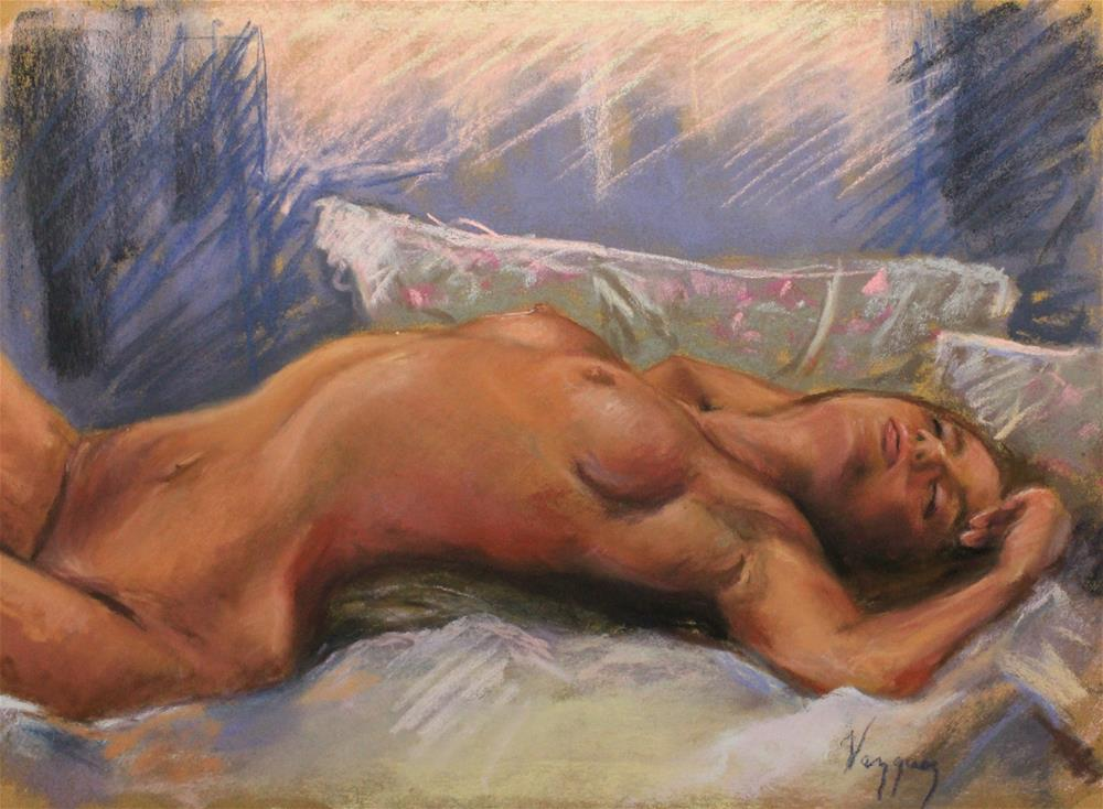 """Nude in bed"" original fine art by Marco Vazquez"