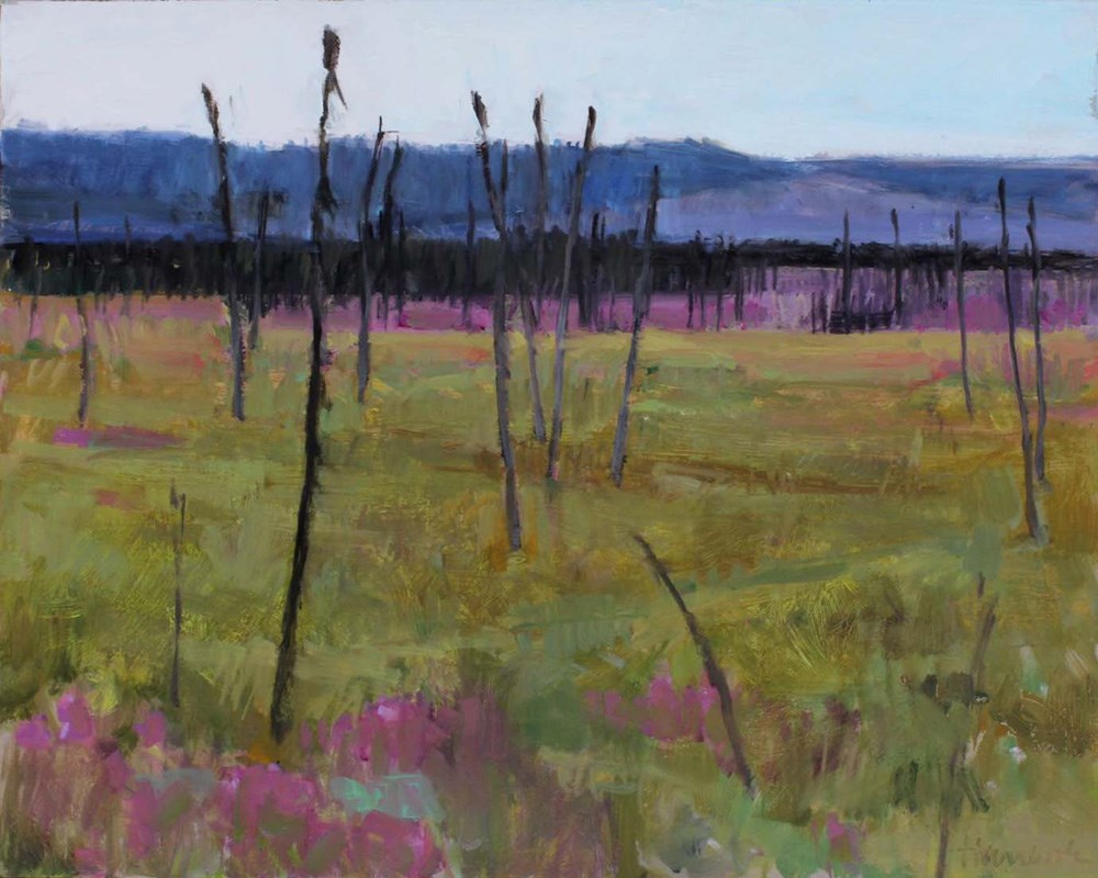 """The Burn and Fireweed"" original fine art by Gretchen Hancock"