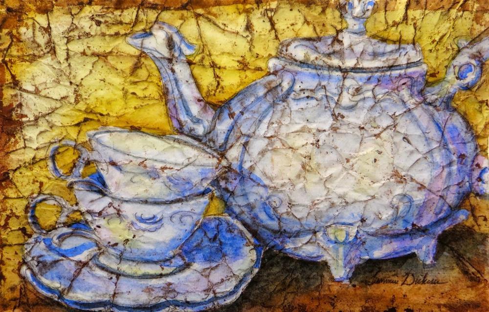 """Teapot and Cups Batik"" original fine art by Tammie Dickerson"