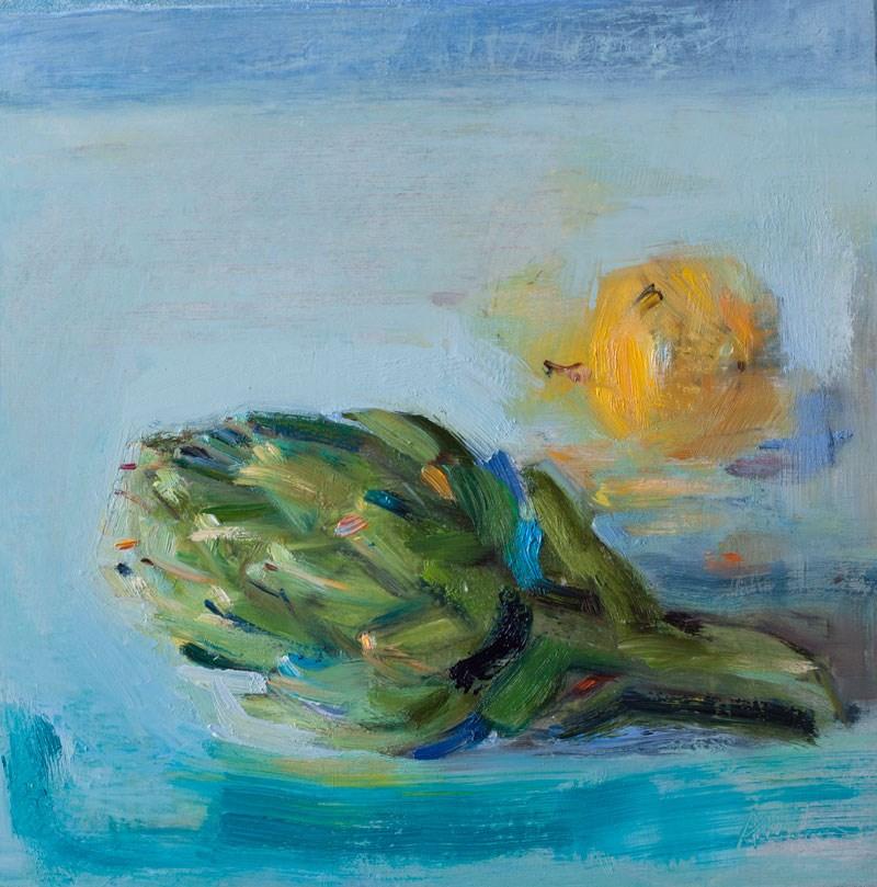 """""""An Artichoke and a Lemon"""" original fine art by Anna Fine Art"""