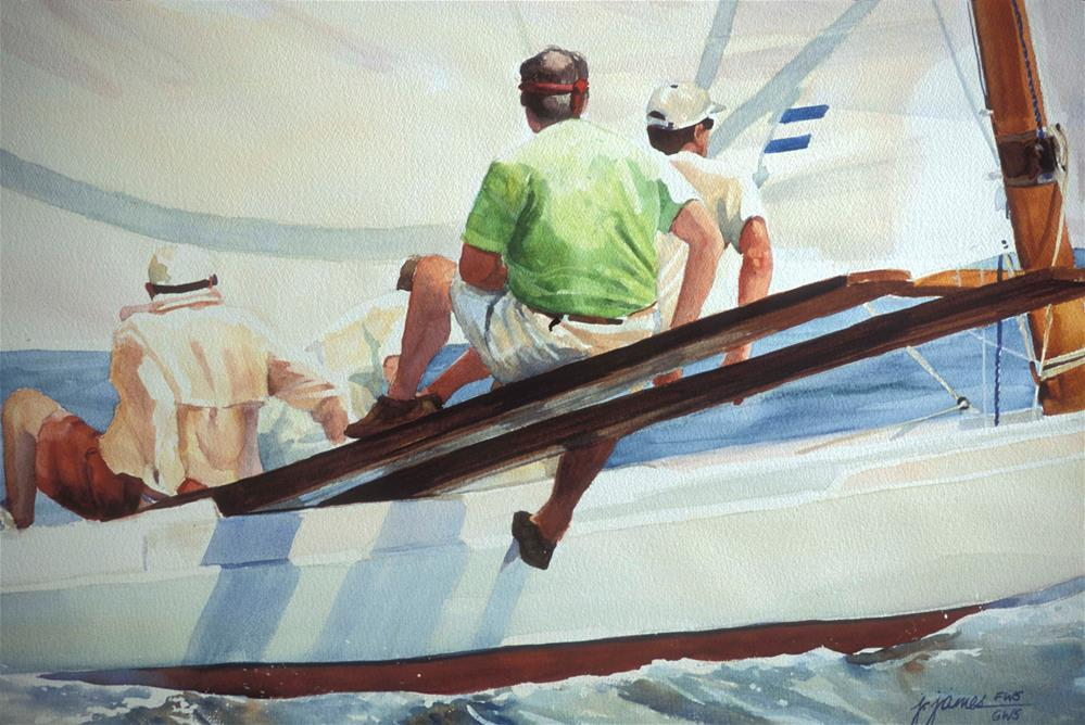 """Log Canoe Races"" original fine art by Jini James"