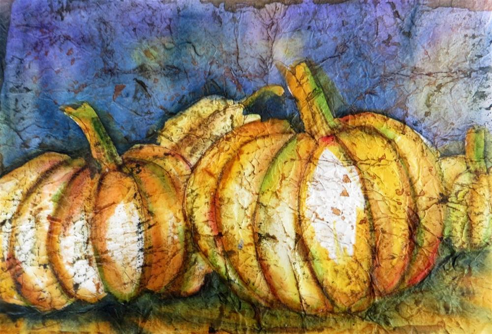 """Pumpkins in Batik"" original fine art by Tammie Dickerson"