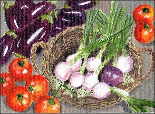 """Assortment of Produce"" original fine art by Patricia Ann Rizzo"