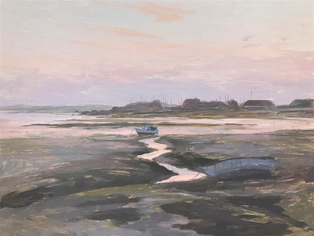 """Langstone Harbour at Dawn"" original fine art by Clare Bowen"