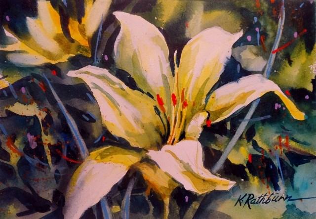 """""""Yelow Lily"""" original fine art by Kathy Los-Rathburn"""