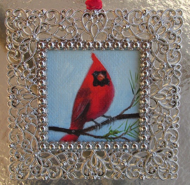 """Cardinal in the Pines Ornament"" original fine art by Ruth Stewart"