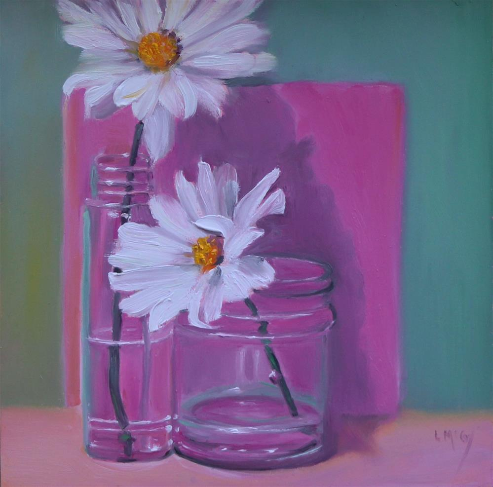 """Daisy's in Pink and Green"" original fine art by Linda McCoy"