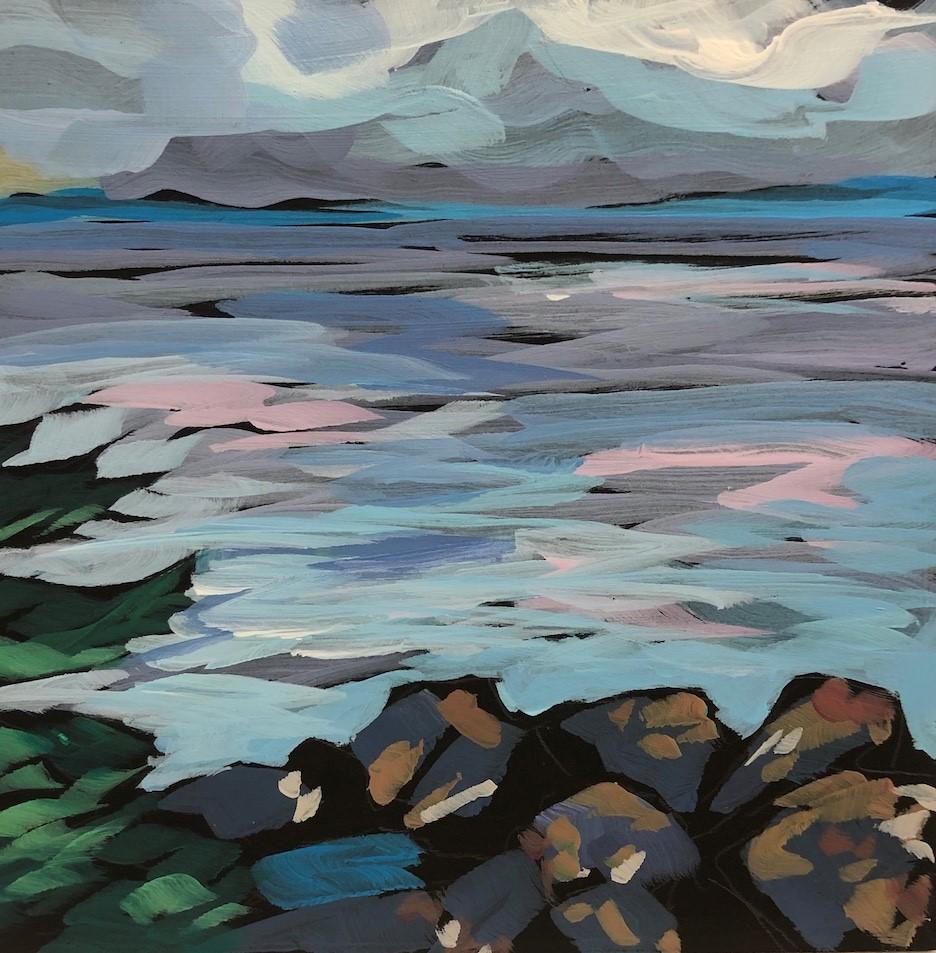 """""""Lichen Rocks"""" original fine art by Kat Corrigan"""