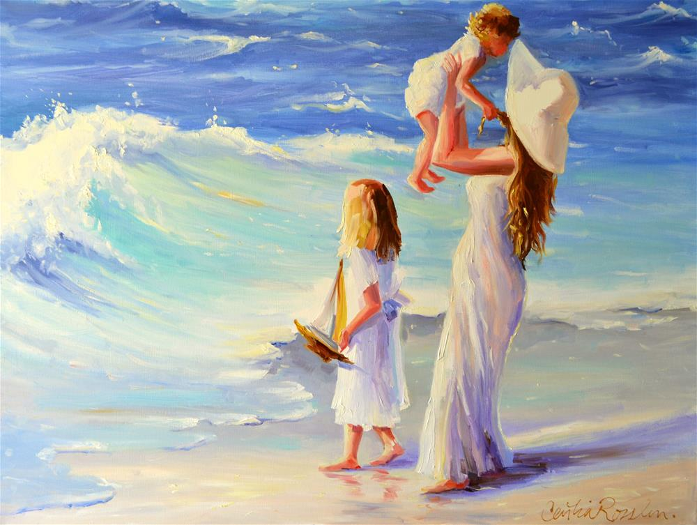 """MOTHER AND KIDS ON THE BEACH"" original fine art by Cecilia Rosslee"