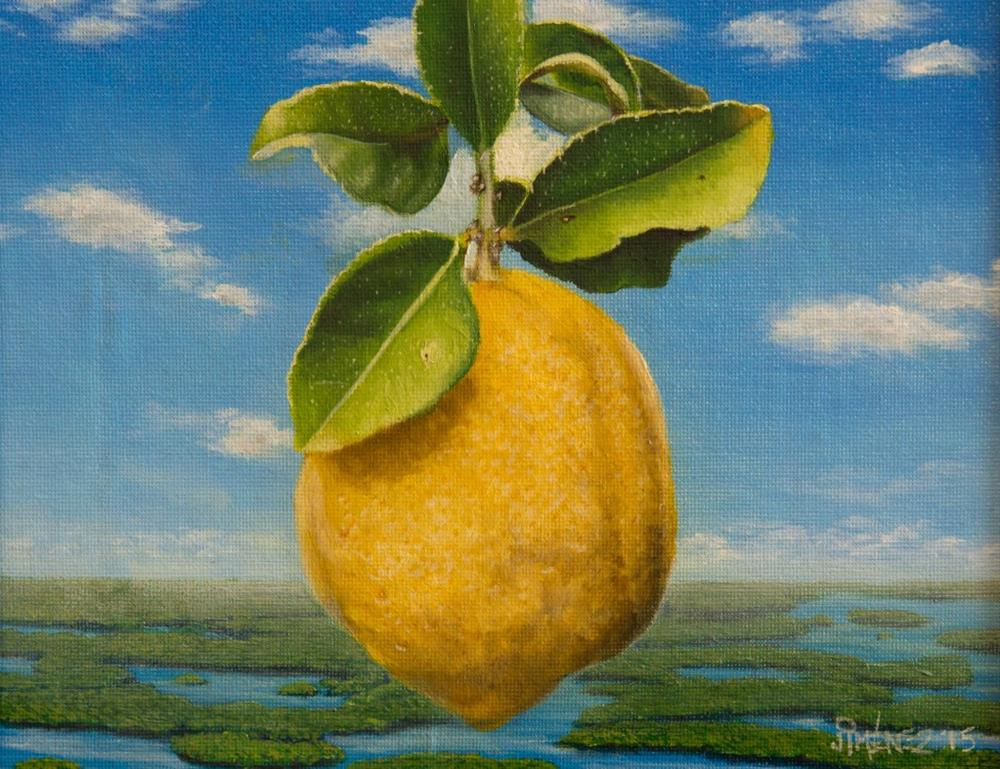 """Gold Of The Universe – Homage to Magritte I oil on canvas 8×10 inches finished piece"" original fine art by Paulo Jimenez"