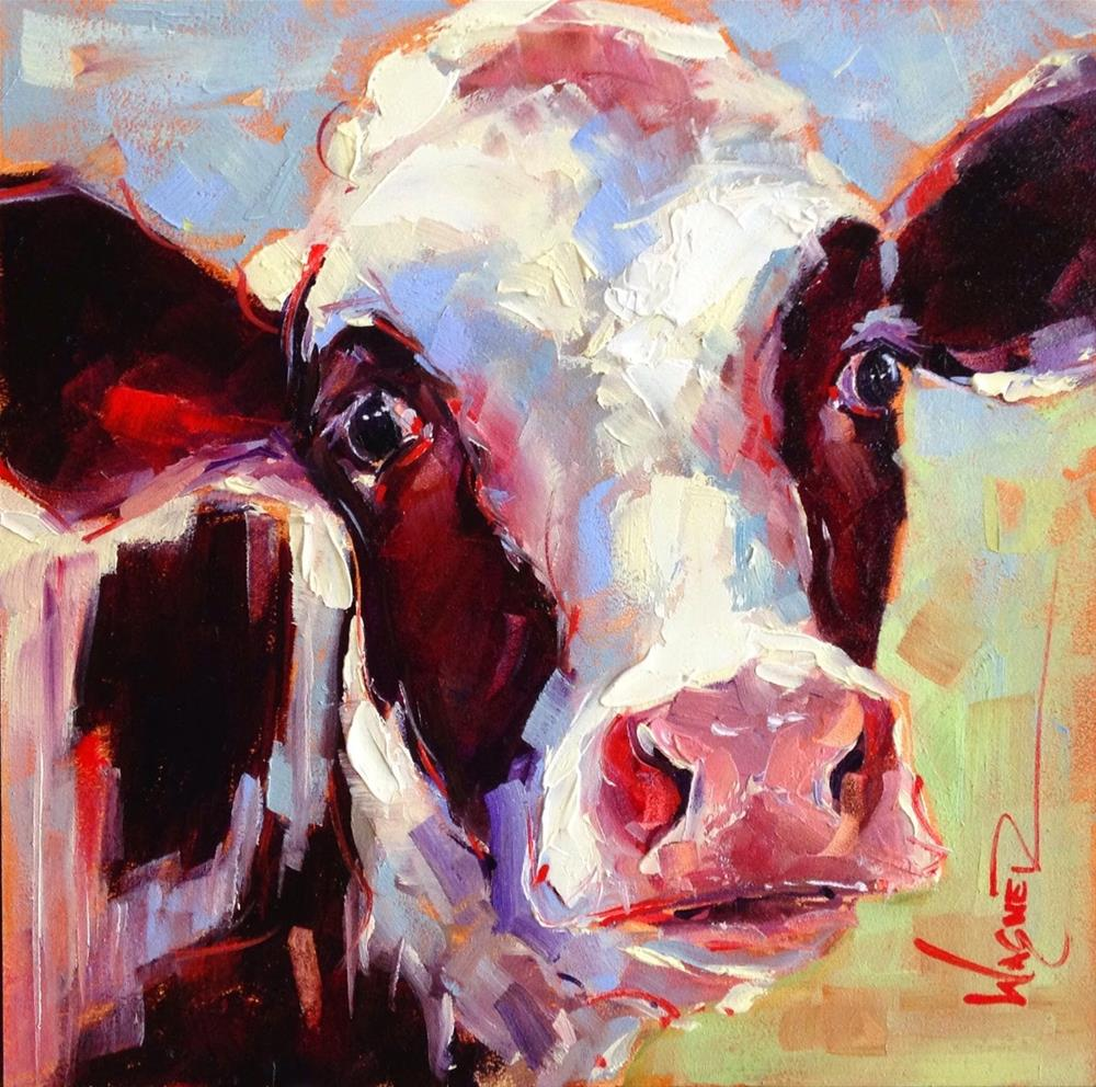 """""""ORIGINAL CONTEMPORARY BLACK AND WHITE COW PAINTING in OILS by OLGA WAGNER"""" original fine art by Olga Wagner"""