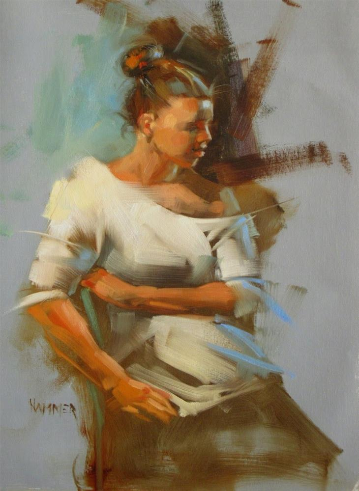 """""""Kalin in white   14x11 in   oil painting"""" original fine art by Claudia Hammer"""