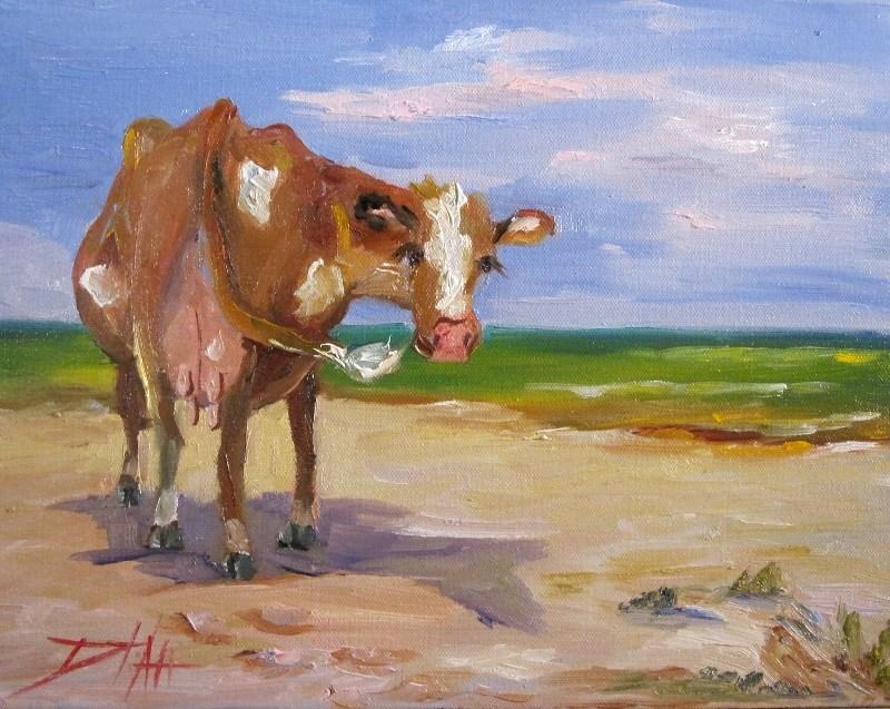 """Beach Cow"" original fine art by Delilah Smith"