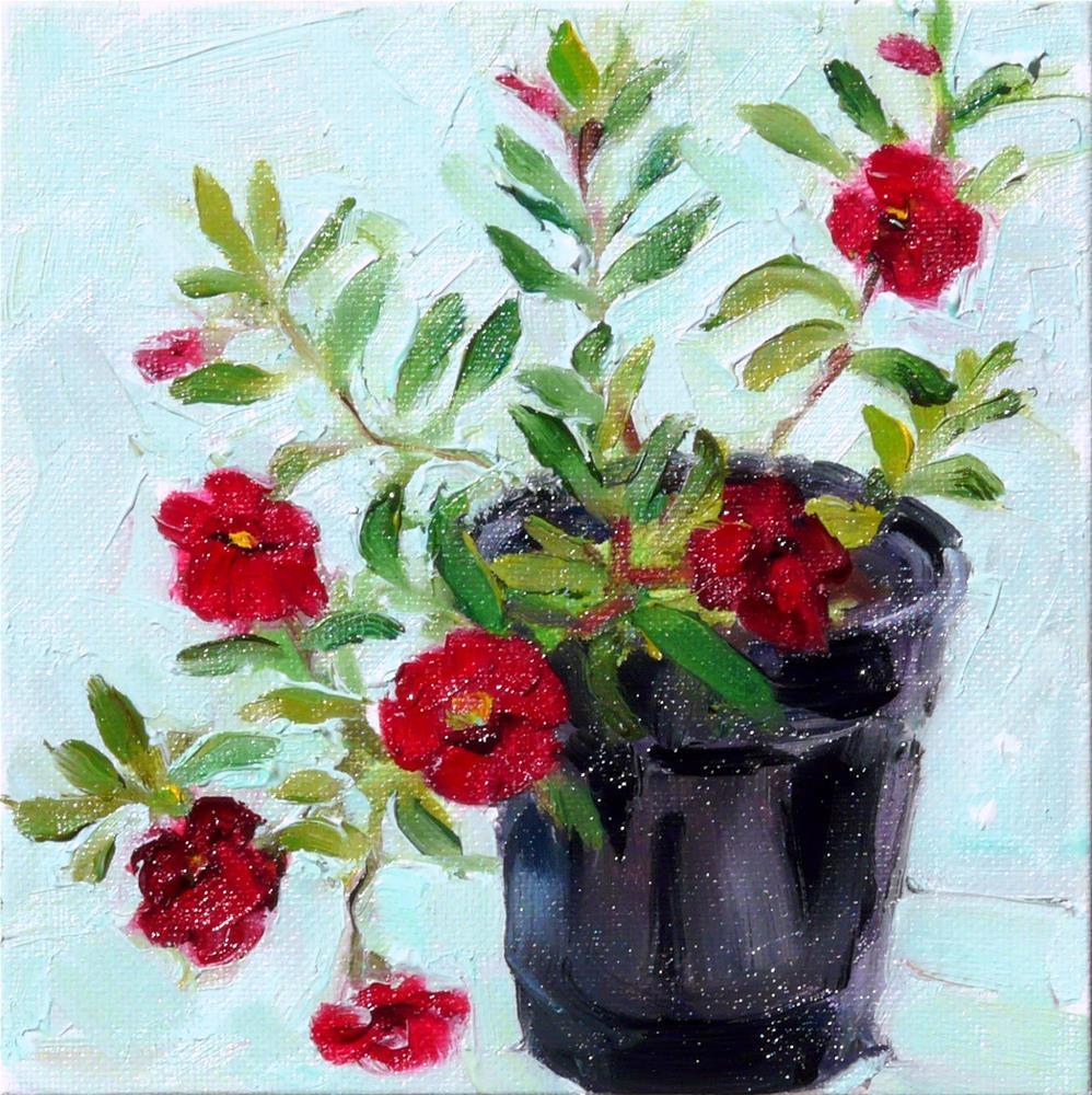"""Pot of Calibrachoa,still life,oil on canvas,6x6price$175"" original fine art by Joy Olney"
