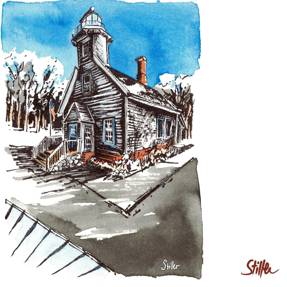 """3449 Mission Point Lighthouse"" original fine art by Dietmar Stiller"