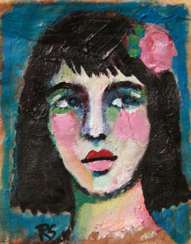 """Tea Bag Portrait - Lydia"" original fine art by Roberta Schmidt ArtcyLucy"