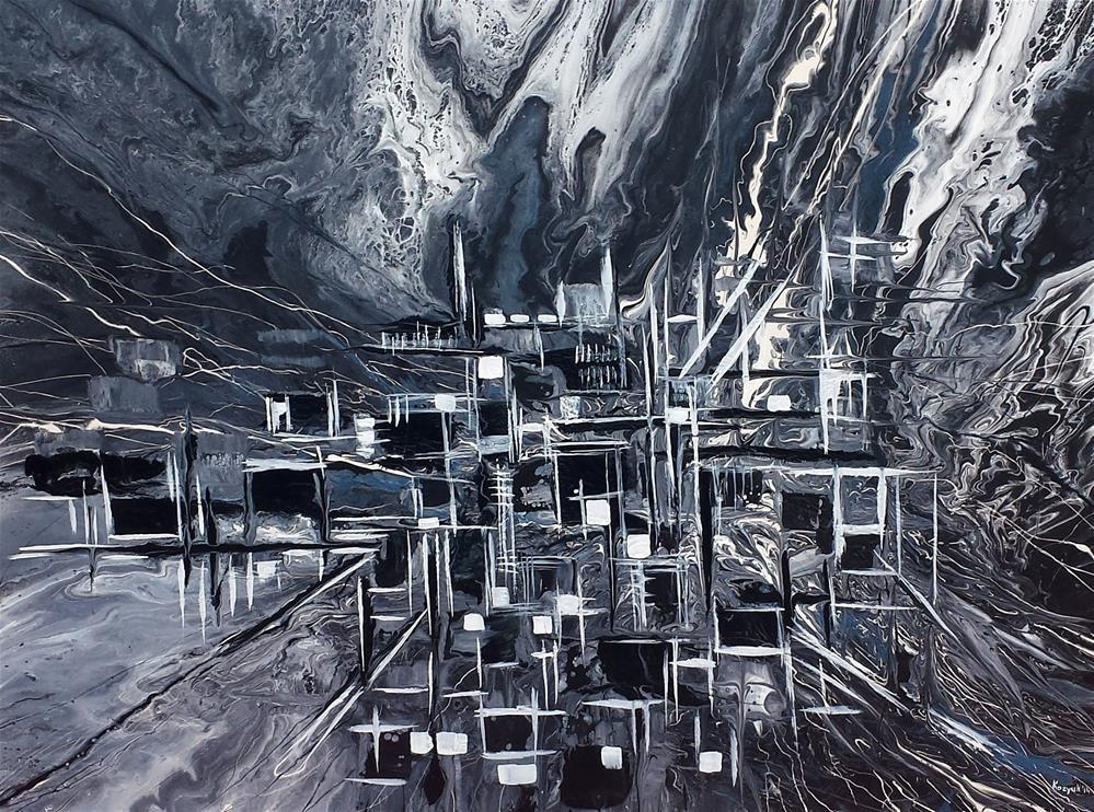 """Abstract City"" original fine art by Khrystyna Kozyuk"