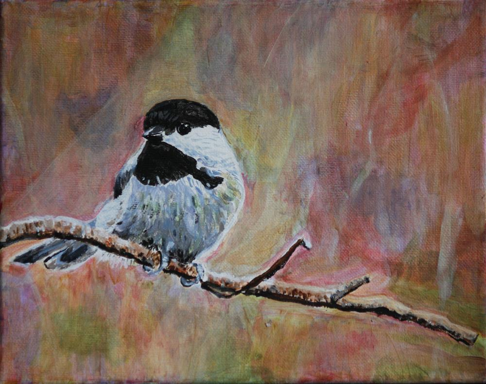"""""""Chickadee in Early Spring"""" original fine art by Terri-Anne Barge"""