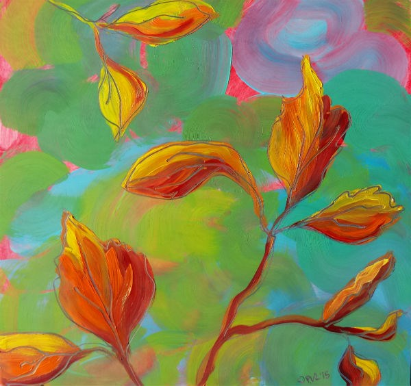 """Leaves 1 Abstract nature oil painting"" original fine art by Pam Van Londen"