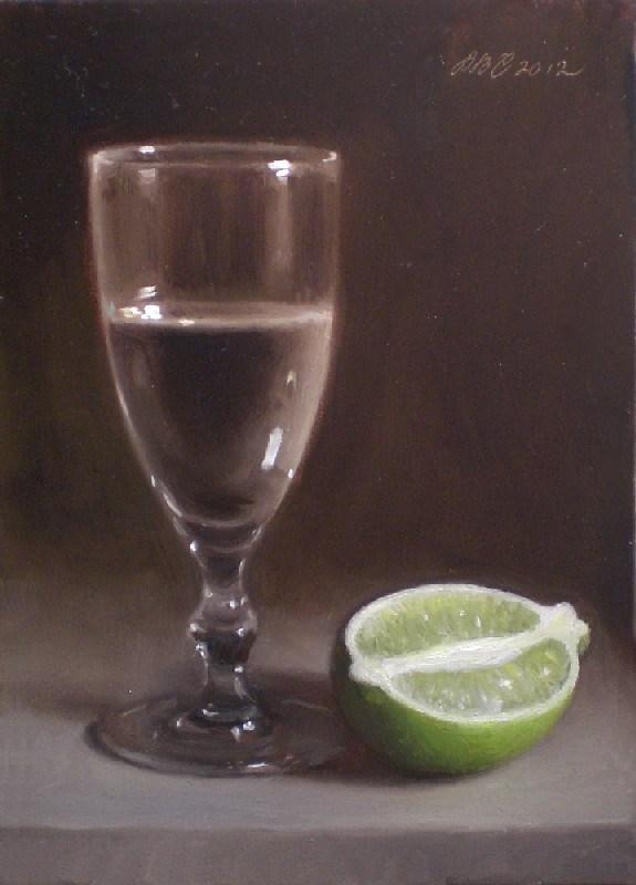 """Water Glass and Lime"" original fine art by Debra Becks Cooper"