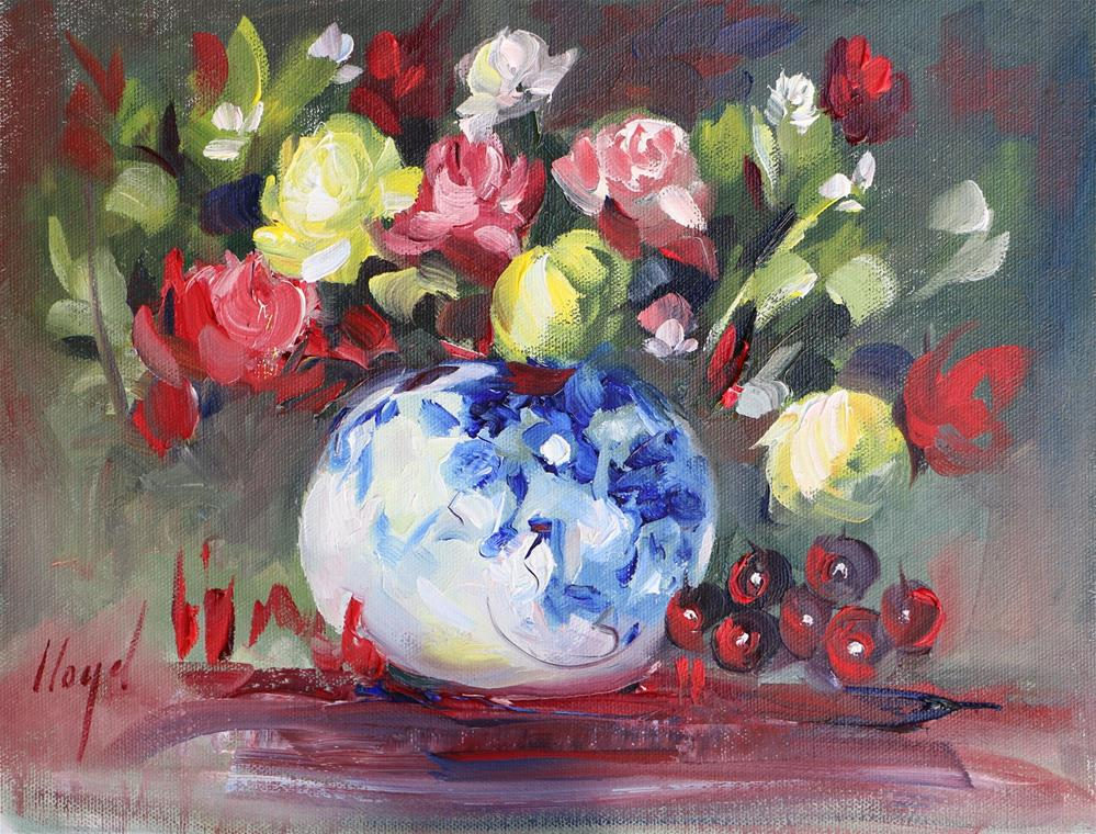 """""""Blue and White Vase with Flowers"""" original fine art by Diane Lloyd"""