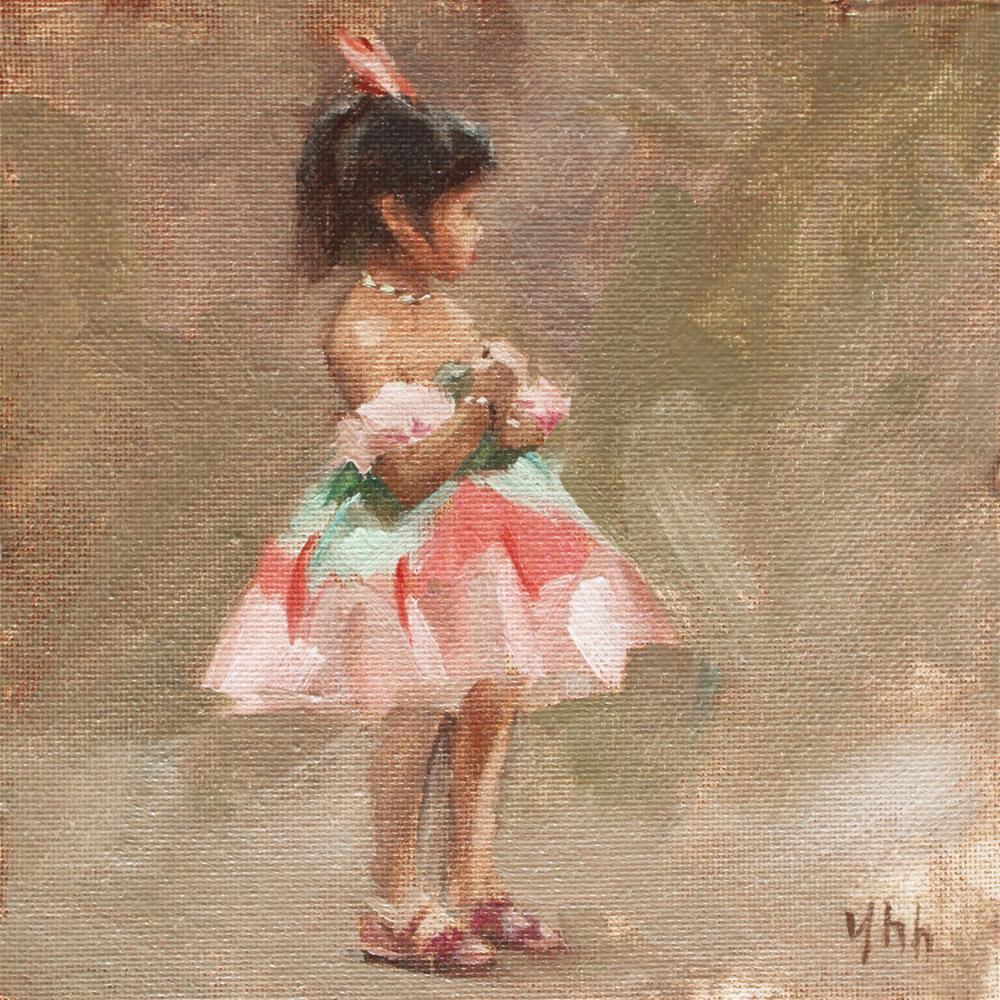 """Before Performing"" original fine art by Yuehua He"