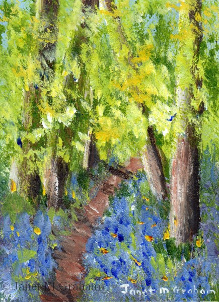 """""""Bluebell  Pathway ACEO"""" original fine art by Janet Graham"""