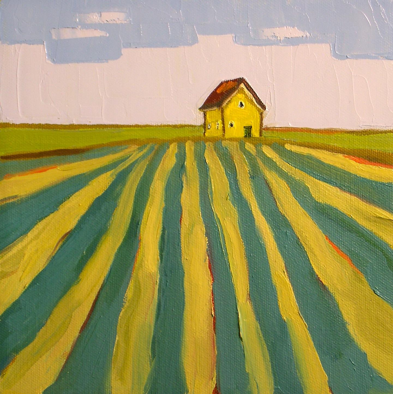 """""""Golden Farmhouse"""" original fine art by Donna Walker"""