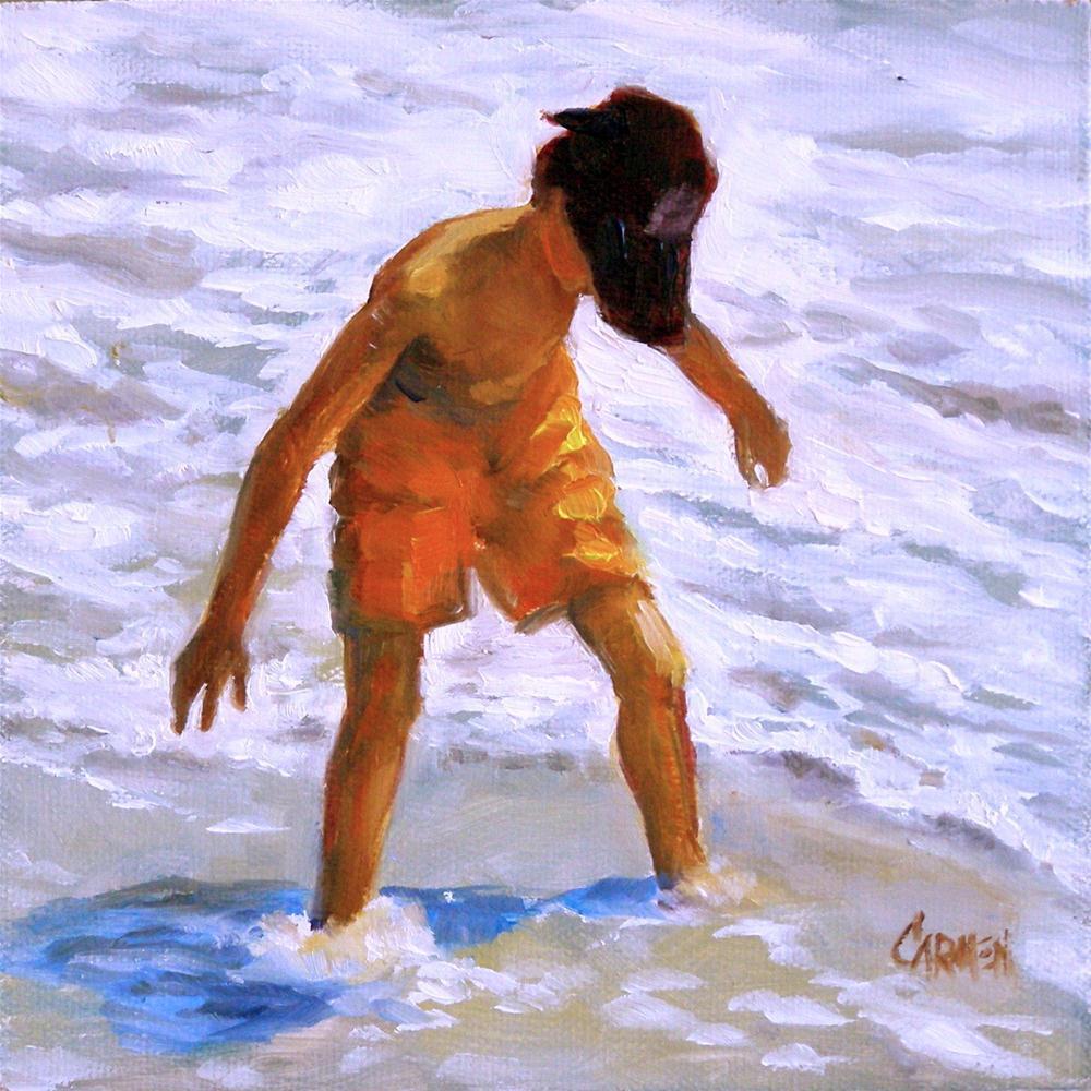 """""""Summer Fun, 6x6 Oil on Canvas"""" original fine art by Carmen Beecher"""