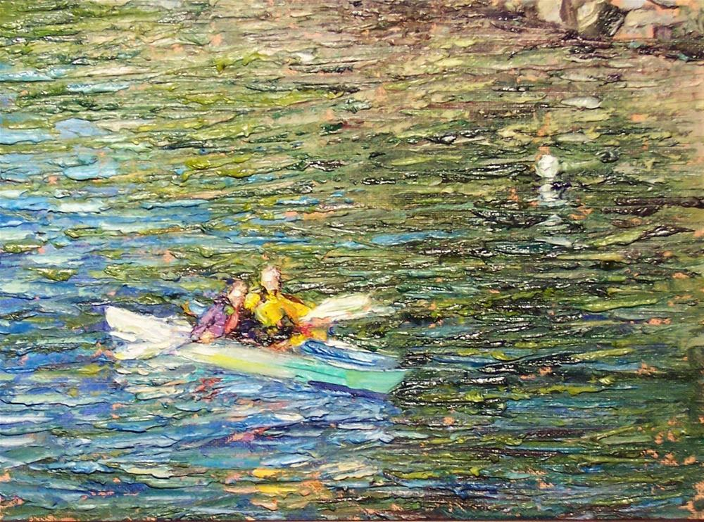 """Kayaking Together,seascape,oil on canvas,9x12,price$350"" original fine art by Joy Olney"